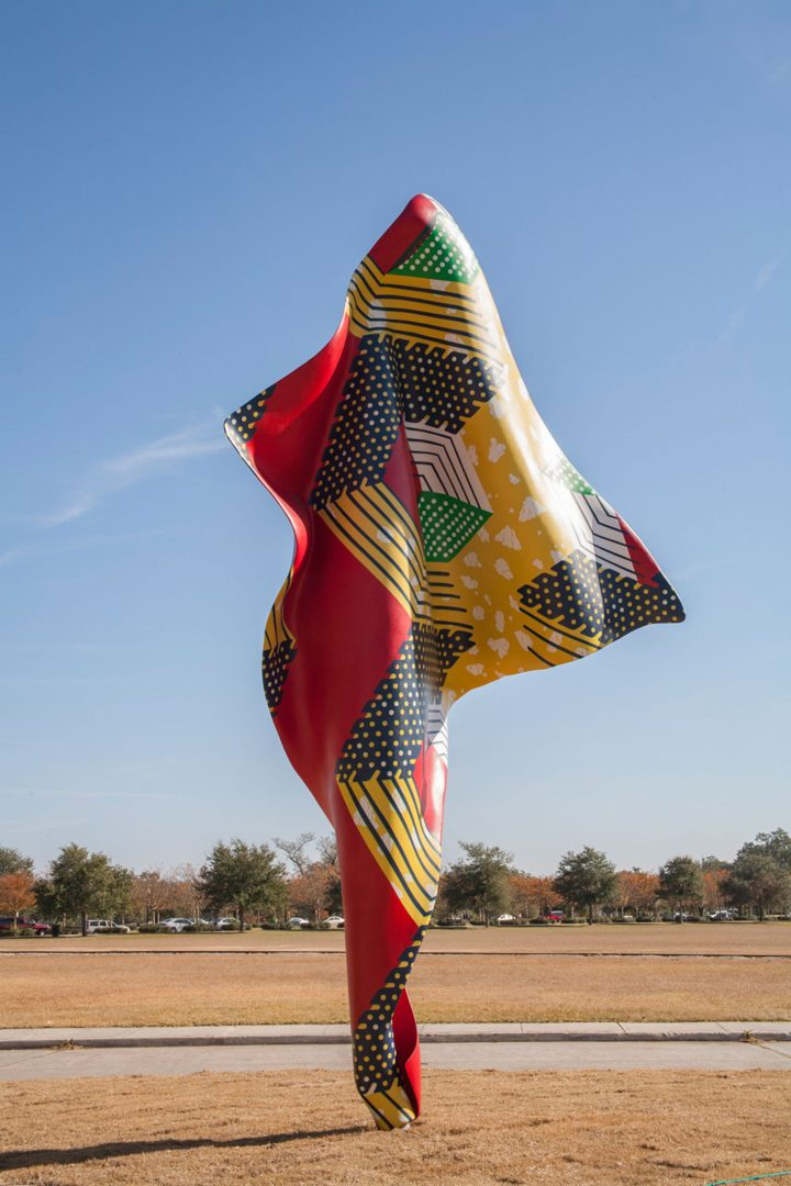 """Yinka Shonibare, """"Wind Sculpture V"""" (2013), steel armature and cast fiberglass resin, 240 x 133 5/16 x 31 3/16 inches (image courtesy New Orleans Museum of Art, photo by R. Alokhin)"""