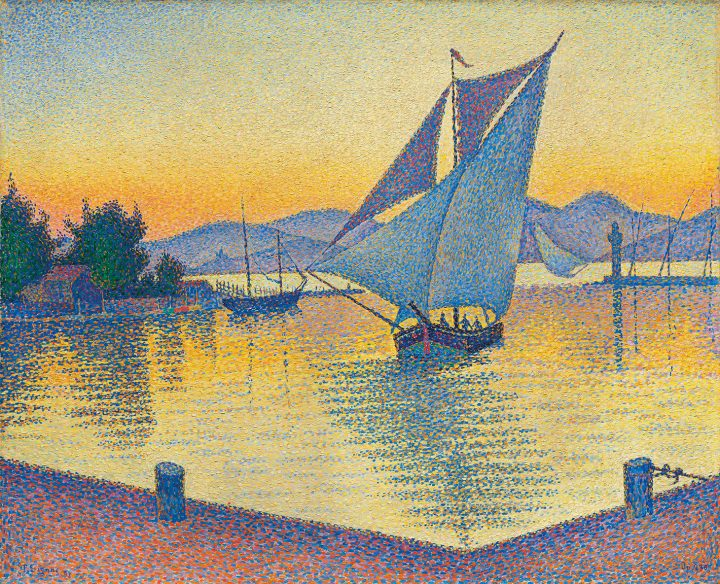 """Paul Signac, """"Le Port au soleil couchant, Opus 236 (Saint-Tropez)"""" (1892), oil on canvas, 25 5/8 x 32 inches (image courtesy Christie's)"""