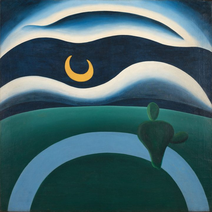 """Tarsila do Amaral, """"The Moon (A Lua)"""" (1928), oil on canvas, 43 1/3 x 43 1/3 inches (image courtesy The Museum of Modern Art, New York, purchase)"""