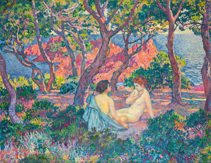 """Théo van Rysselberghe, """"À L'Ombre des Pins (Agay) or Sous Les Pins (Agay)"""" (1905), oil on canvas, 3 3/4 x 39 1/2 inches (image courtesy Sotheby's)"""