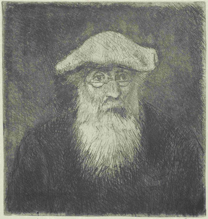 "Camille Pissarro, ""A Self Portrait"" (1890–1891), etching, (image courtesy Van Gogh Museum, Amsterdam)"