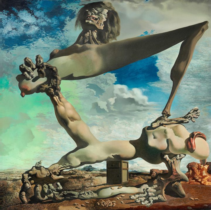 """Salvador Dalí, """"Soft Construction with Boiled Beans (Premonition of Civil War)"""" (1936) (image courtesy Philadelphia Museum of Art: The Louise and Walter Arensberg Collection, 1950, © Salvador Dalí, Fundació Gala-Salvador Dalí, Artists Rights Society)"""