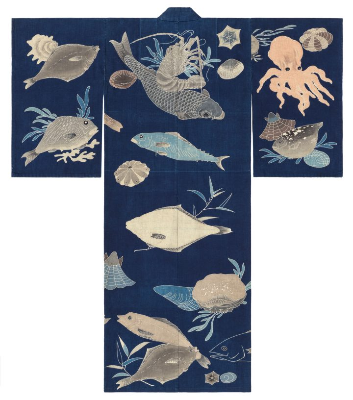 Dark blue-ground festival kimono decorated with sea creatures (back), cloth: cotton; tsutsugaki (freehand resist) (image courtesy Minneapolis Instiutute of Art)