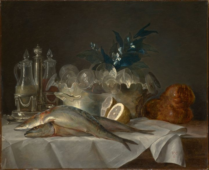 """Anne Vallayer-Coster, """"Still Life with Mackerel"""" (1787), oil on canvas, 19 1/2 x 24 inches (image courtesy Kimbell Art Museum, Gift of Sid R. Bass in honor of Kay and Ben Fortson)"""