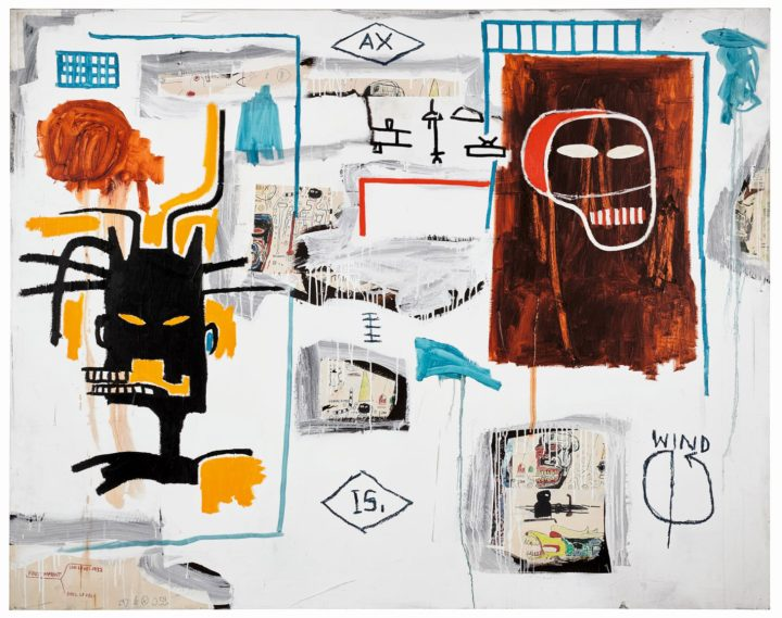 "Jean-Michel Basquiat, ""Apex"" (1986), acrylic, oil stick, and Xerox collage on canvas, 67.9 x 86 inches (image courtesy Sotheby's)"