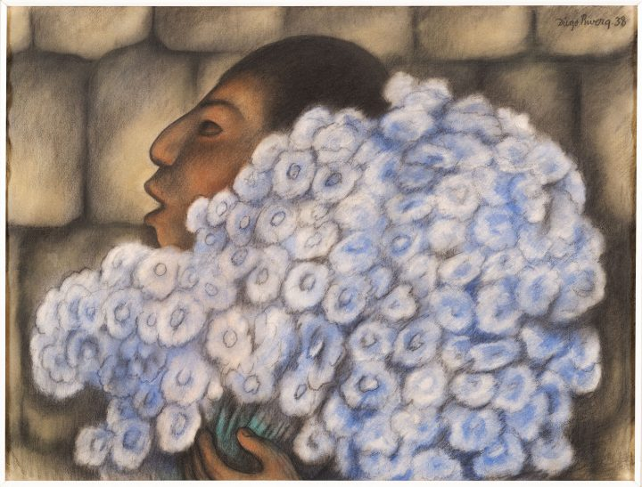"""Diego Rivera, """"The Flowerseller"""" (1938), pastel on paper, 18 3/4 × 24 3/4 inches (image courtesy Dallas Museum of Art)"""