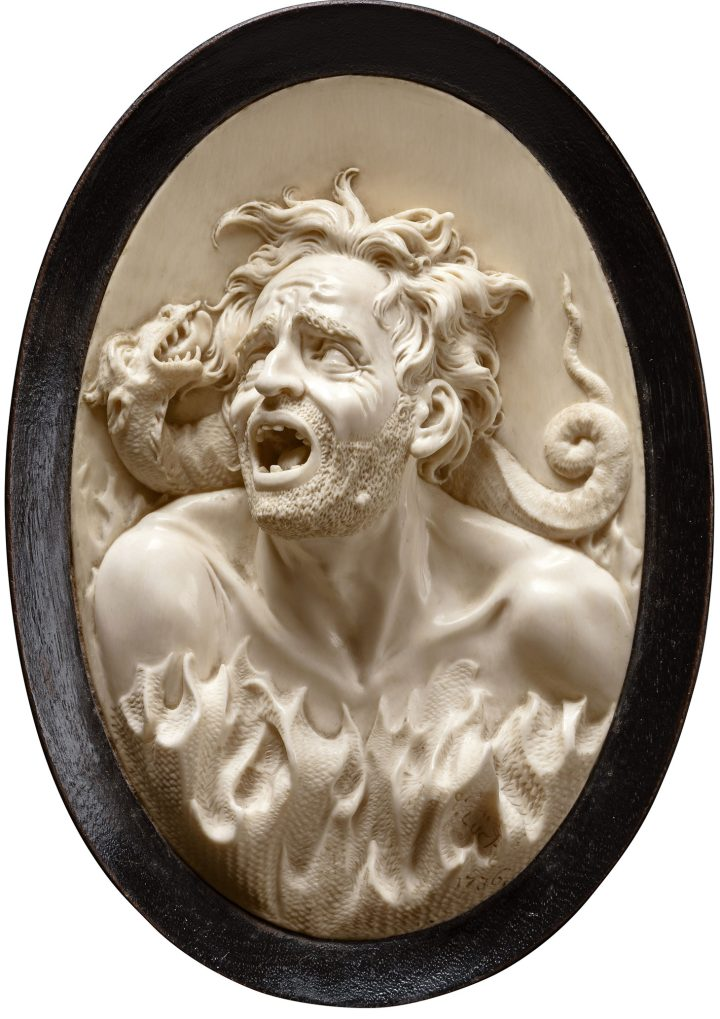 "Johann Christoph Ludwig Lücke, ""Allegory of Damnation in Hell, (1736), ivory, H. 14,8 cm, W. 10 cm, D. 2,3 cm (image courtesy Liebieghaus Skulpturensammlung ‒ Sammlung Reiner Winkler, Frankfurt am Main, photo by Liebieghaus Skulpturensammlung)"