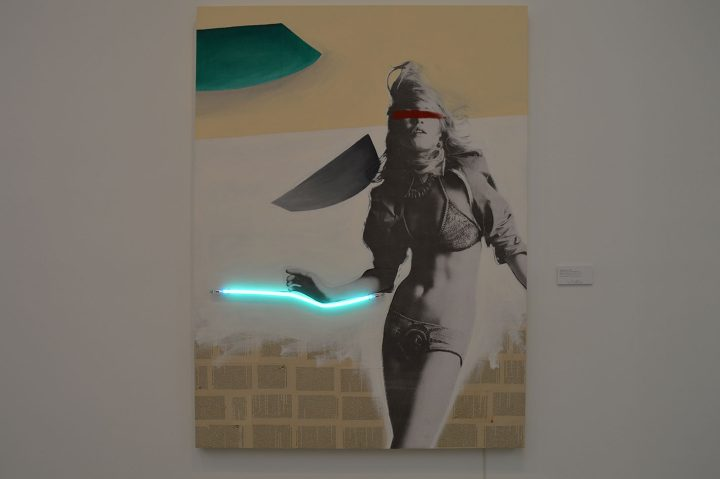 """Javier Martin, """"Blindness the Light of Knowledge"""" (1985), collage on wood, acrylic, oil color, neon light, 78 x 59 x 2 inches, Valli Art Gallery"""