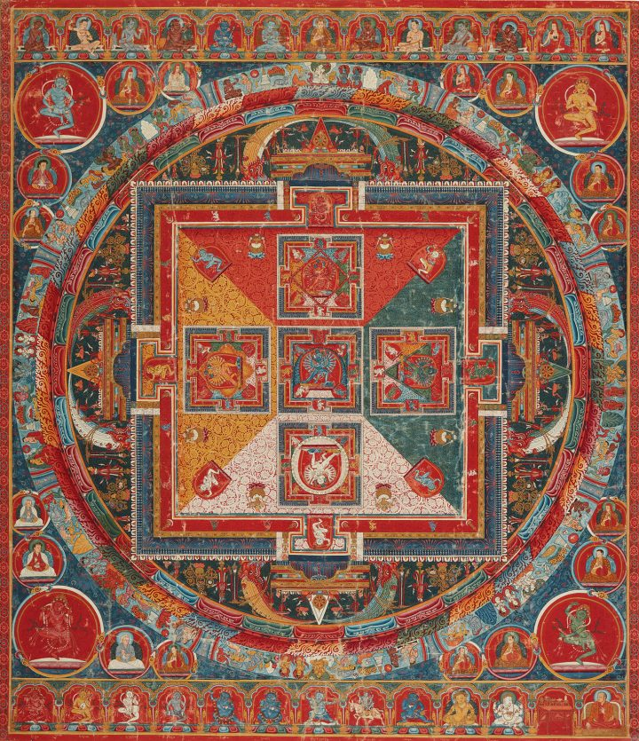 A Thangka Depicting a Hevajra Mandala, Tibet, second half of the 14th Century (c. 1370–1380) (image courtesy Sotheby's)