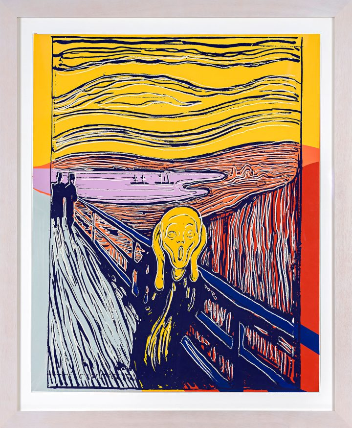 """Andy Warhol, """"The Scream (After Munch) (F. & S. IIIA.58)"""" (1984), screenprint, framed sheet: 39 3/4 x 32 inches (image courtesy Sotheby's)"""