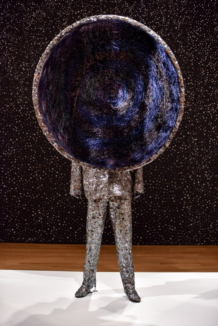 "Nick Cave, ""Soundsuit"" (2018), mixed media including buttons, wire filter head, metal and mannequin, approximately