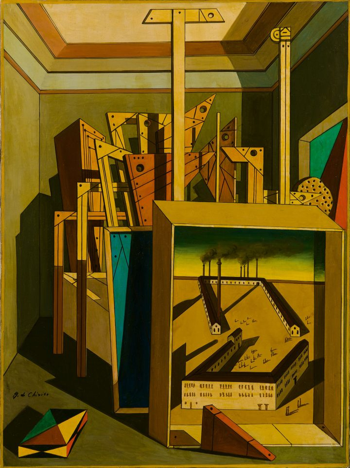 "Giorgio de Chirico, ""Interno Metafisico con Officine"" (1951–52), oil on canvas, 31 1/2 x 23 3/4 inches (image courtesy Sotheby's)"