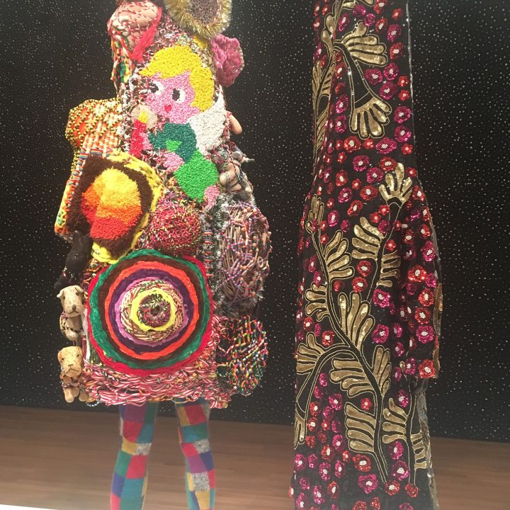 "Nick Cave, ""Soundsuit"" (2011), mixed media, including vintage toys, pipe cleaners, bugle beads, upholstery, metal, and mannequin