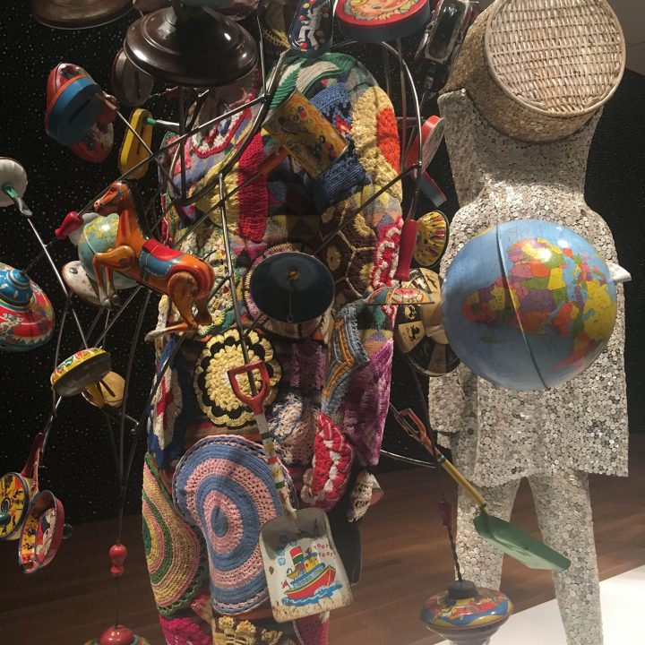 "Nick Cave, detail of ""Soundsuit"" (2016), mixed media, including a mask with horns, various toys, globes, wire, metal, and mannequin"