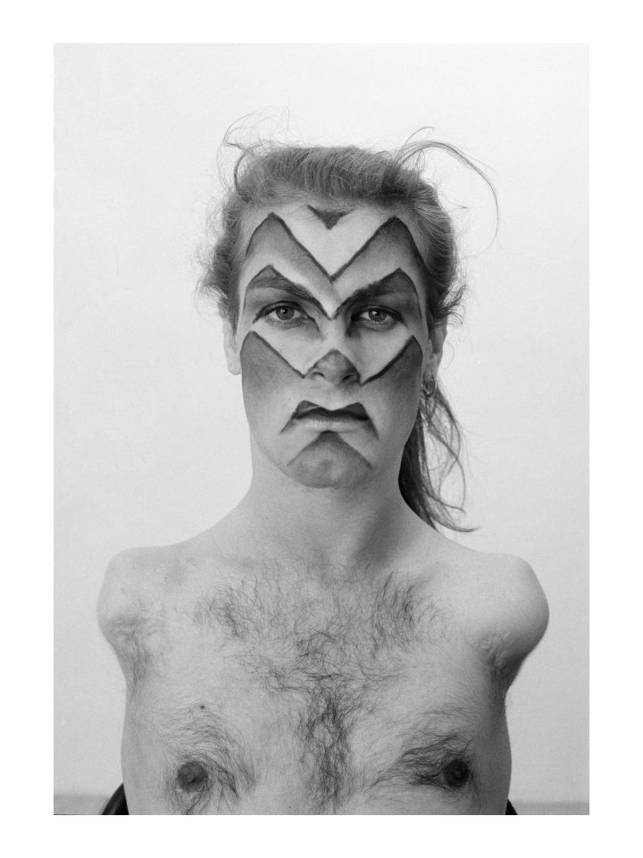 "Lorenza Böttner, ""Face Art"" (1983), black and white photography"