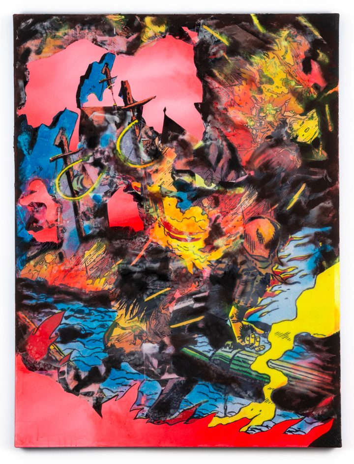 """Rushern Baker IV, """"Fire Man"""" (2019), acrylic, paper, resin, and ceramic tile adhesive on canvas, 48 x 36 inches (all images courtesy Hemphill Fine Arts)"""