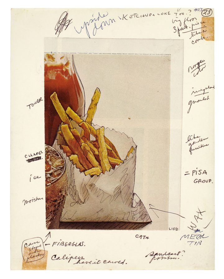 "Claes Oldenburg, ""Notebook Page: Shoestring Potatoes, Ketchup Bottle and Coke Glass, New York,"" ballpoint pen and clipping, 8 x 5 13/16 inches on sheet 11 x 8 1/2 inches (photo courtesy the Oldenburg van Bruggen Studio, Copyright 1965 Claes Oldenburg)"