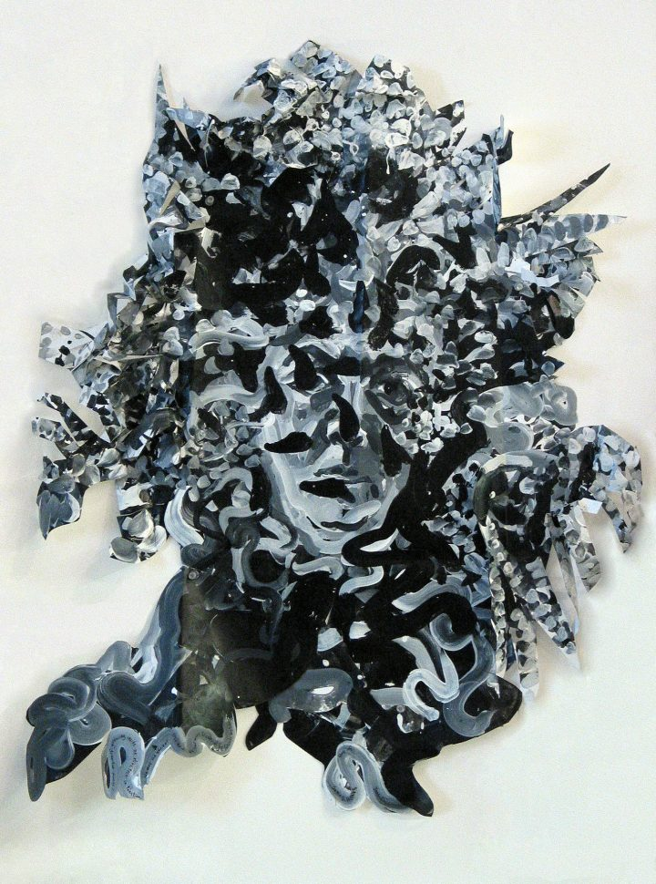 "Samia Halaby, ""I found Myself Growing in an Old Olive Tree"" (2005), acrylic on polyethylene, 95.5 x 76 cm (image courtesy Ayyam Gallery)"