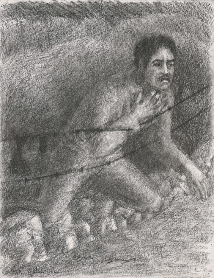 "Samia Halaby, ""Mahmoud Masarwa Challenges the Killers, Ninth Wave of Killing on the Western Road, The Kafr Qasem Massacre of 1956"" (1999), from the Kafr Qasem series, conté crayon on paper, 32.5 x 25 cm (image courtesy Ayyam Gallery)"