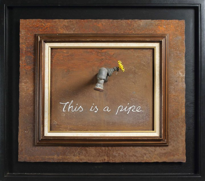 "Banksy, ""This is a Pipe"" (2011), paint, vintage frame, and reclaimed metal artwork, 27 1/8 x 34 5/8 x 11 3/8 inches, framed 34 1/2 x 39 inches (image courtesy Christie's)"
