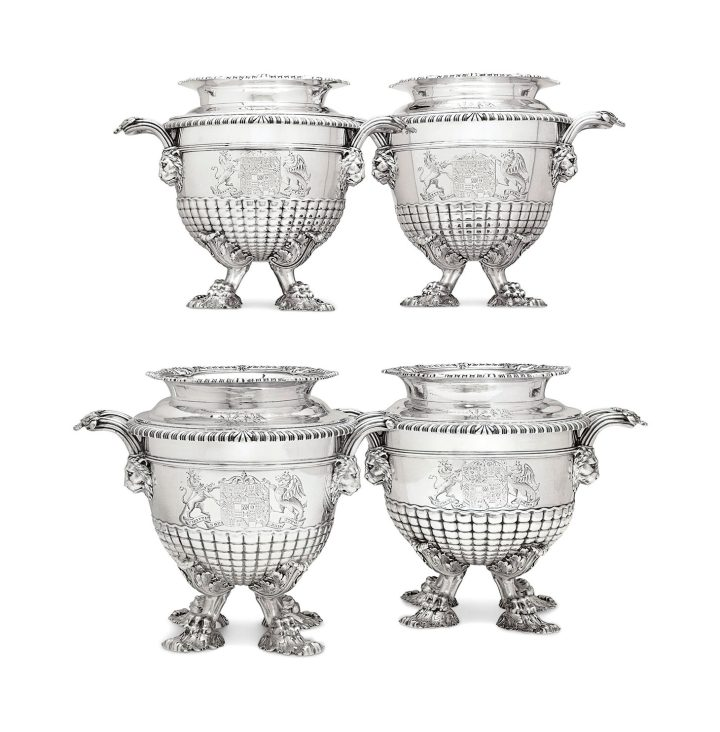 An important set of four regency wine coolers, mark of Paul Storr, London, two 1811, two 1813, 10 inches high (image courtesy Christie's)