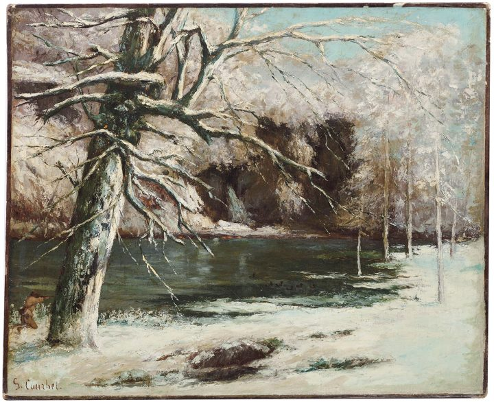 "Gustave Courbet, ""Le chasseur d'eau"" (1973), oil on canvas, 23 1/2 x 28 3/4 inches (image courtesy Christie's)"