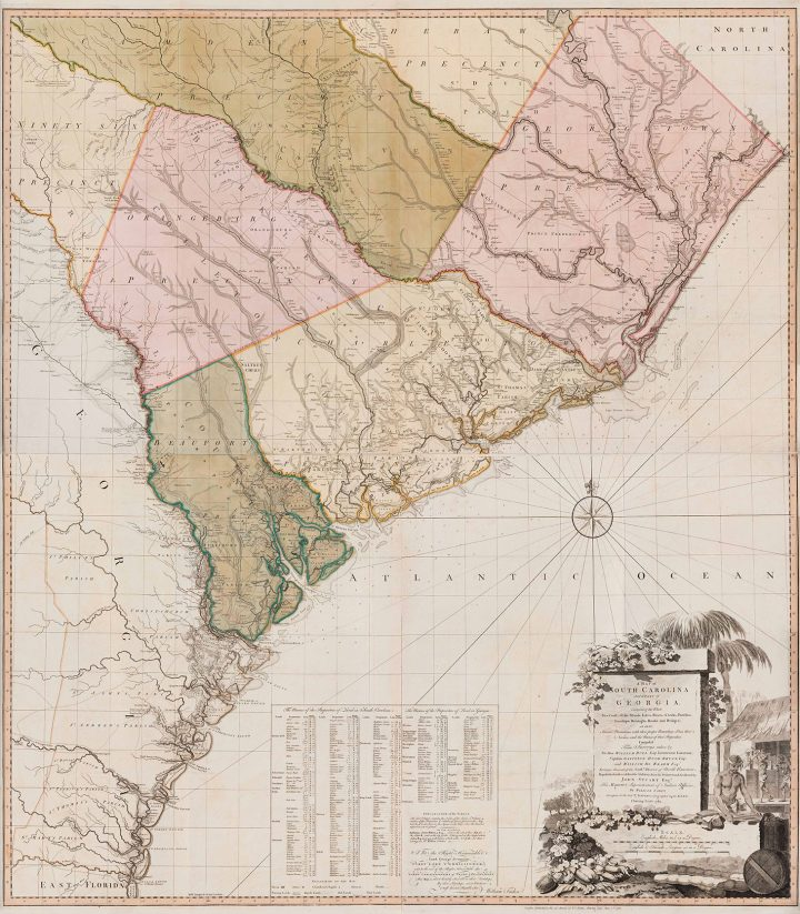 """William Faden, """"A Map of South Carolina and a part of Georgia"""" (1780), black and white line engraving with period hand color on laid paper, in two sheets: top sheet H: 28 inches x W: 48 1/2 inches, bottom sheet H: 28 inches x W: 48 1/2 inches, Museum Purchase, 2019-59, A&B (image courtesy Colonial Williamsburg Foundation)"""