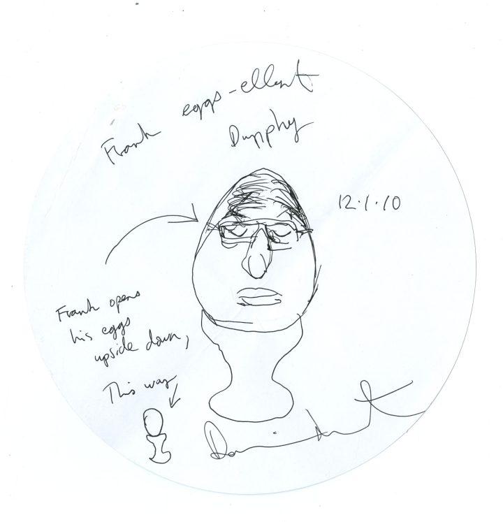 "Damien Hirst, ""Frank Eggs-ellent Dunphy"" (2010), pen on placemat, 22 cm (image courtesy the British Museum)"