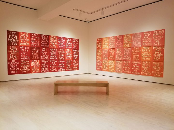 """Edgar Heap of Birds, """"Health of the People is the Highest Law"""" (2019), monoprints and ghost prints on creme rag paper, each: 30 × 22 inches, 90 × 352 inches"""