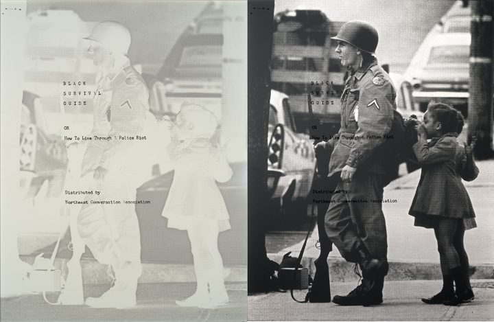 """Hank Willis Thomas, """"How to Live Through a Police Riot [Black Survival Guide, or How to Live Through a Police Riot]"""" (2018), screen print on retroreflective vinyl with aluminum backing, 62 x 48 inches, (photograph of Wilmington Riots and National Guard Occupation by Frank Fahey, 1968; courtesy <em srcset="""