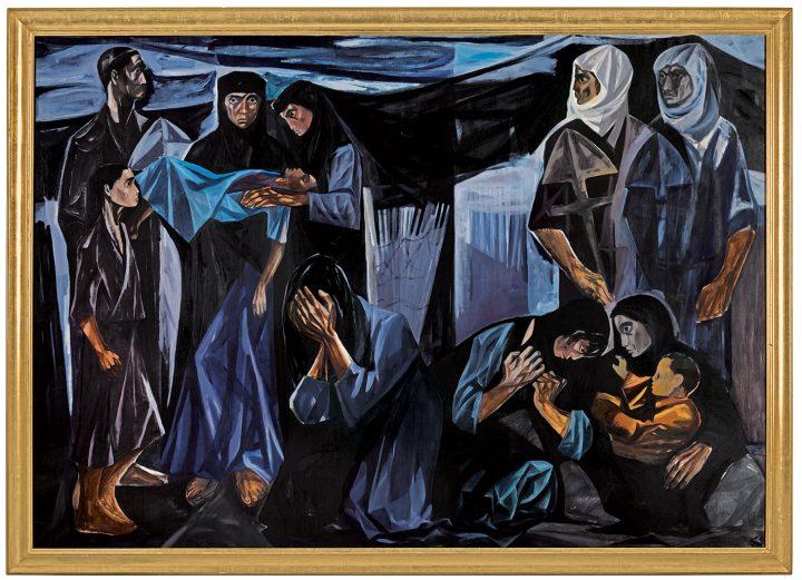 "Mahmoud Sabri, ""Al Mawt Al-Tafl (The Death of a Child)"" (1963), oil on canvas, 54 x 77 1/8 inches (image courtesy Sotheby's)"