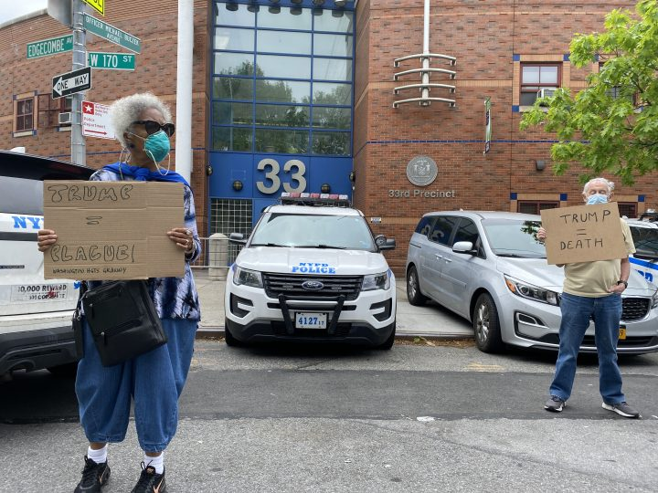 Protesters against the arrest of the author and journalist Jill Nelson at the NYPD 33rd precinct in Washington Heights, New York (all photos by the author unless stated otherwise)