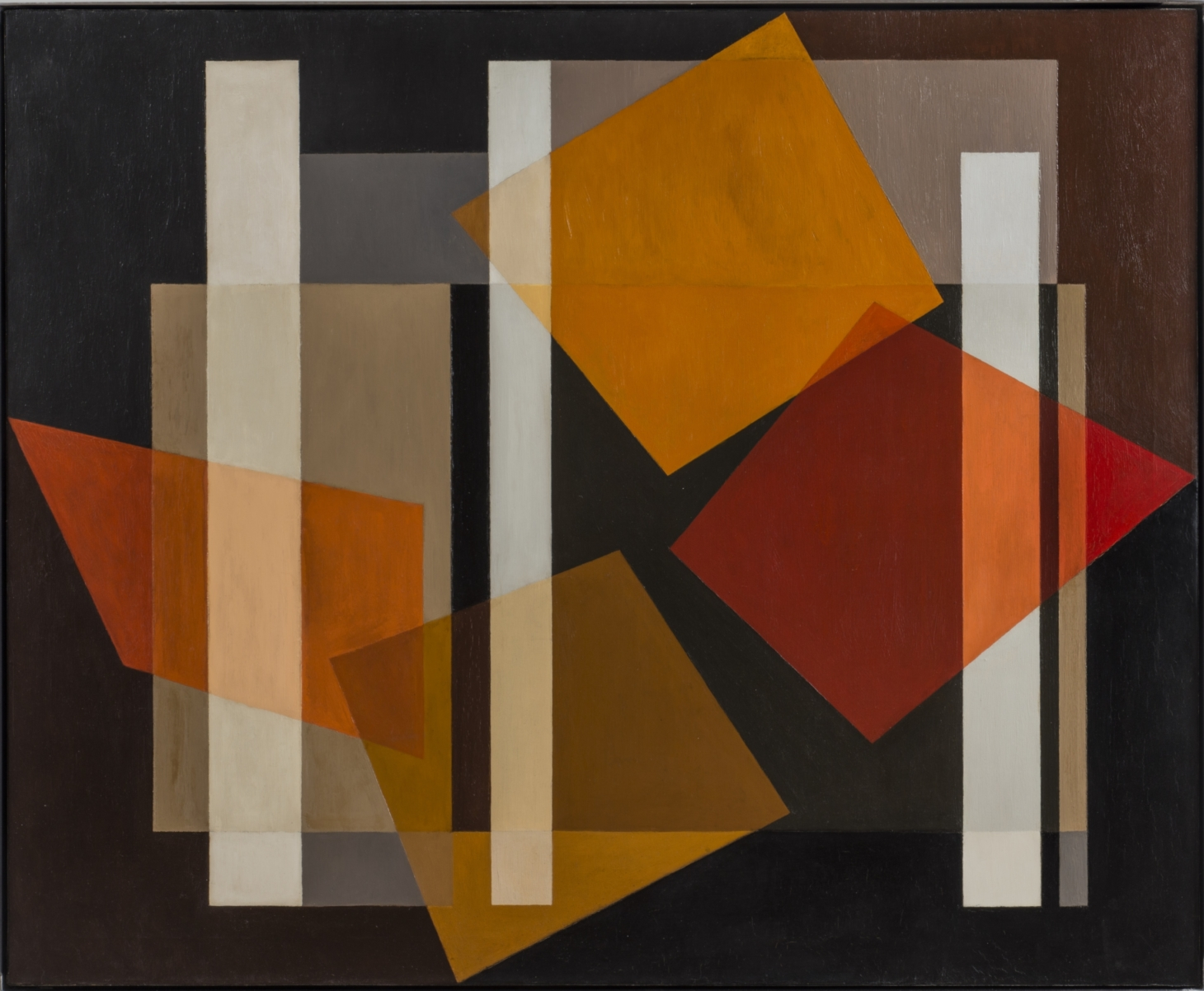 Alice Trumbull Mason. Staff Distaff and Rod. 1952. oil on canvas. 34 38 x 42 inches scaled e1591997916718