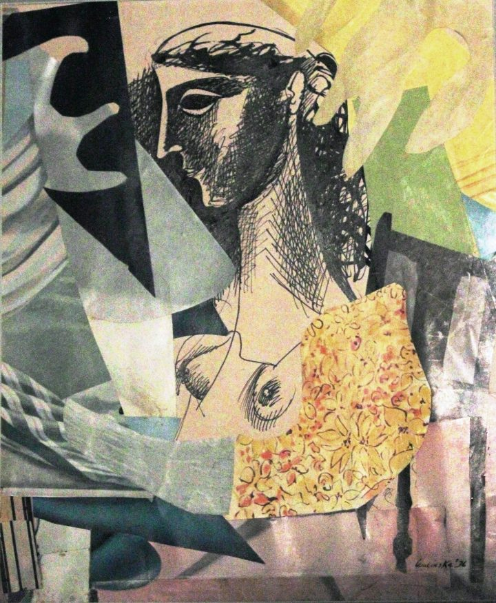Woman in Interior 1936 collage with ink drawing on paper 22x19 2